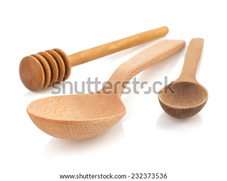 wooden spoon and stick isolated on white background - stock photo