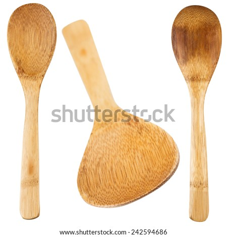 Wooden spoon for the kitchen. Isolated. - stock photo