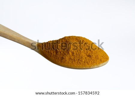 Wooden spoon, full of cinnamon , isolated on white background