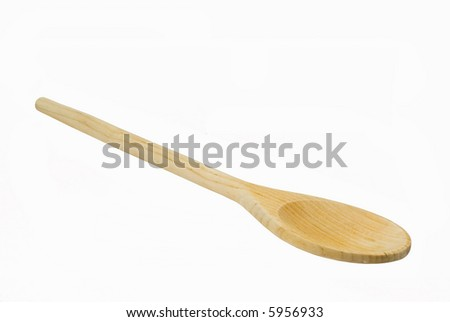 Wooden spoon on isolated background - stock photo