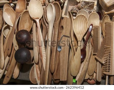 wooden spoon souvenir traditional kitchenware - stock photo