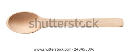Wooden spoon / top-view photos of kitchen accessories - isolated on white background  - stock photo