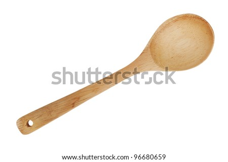Wooden spoon with a hole for the strap on  white background - stock photo