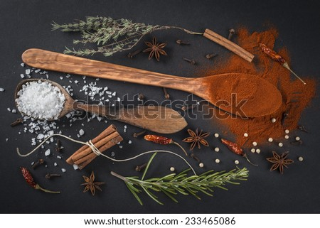 Wooden spoon with paprika, salt and other spices on a black background - stock photo
