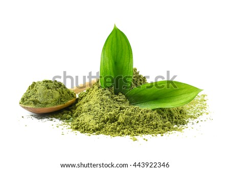 Wooden spoon with powdered matcha green tea, isolated on white - stock photo