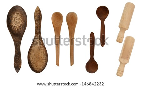 Wooden spoons isolated on white - stock photo