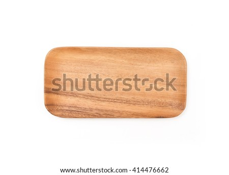 Wooden square plate isolated on white background.