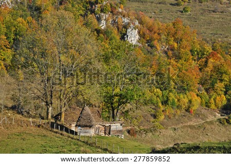 Wooden stable with thatched roof in the mountains - stock photo