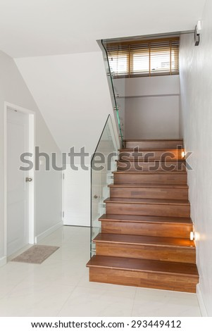 wooden stair in modern house