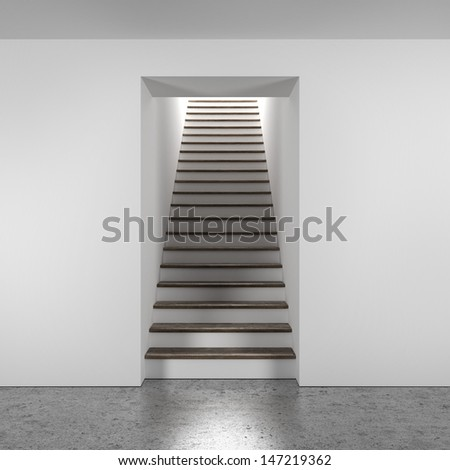 wooden stairway - stock photo