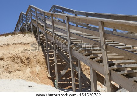 wooden Stairway to the beach in summer  - stock photo
