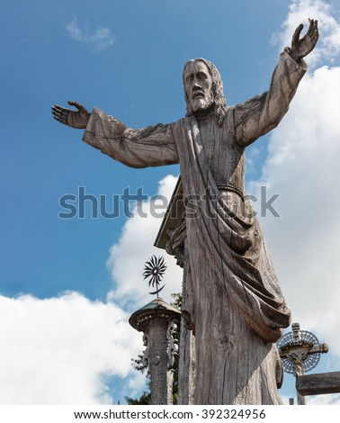 Wooden statue of Jesus Christ at the Hill of Crosses, an unique monument of history and religious folk art and most important Lithuanian Catholic pilgrimage site