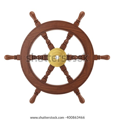 Wooden steering wheel for ship isolated on white background. 3d ships wheel rendering - stock photo