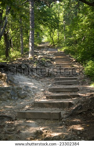 Wooden steps in the forest going uphill. - stock photo