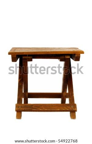 Wooden Stool Isolated - stock photo