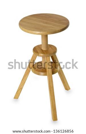 Wooden stool isolated on white background - stock photo