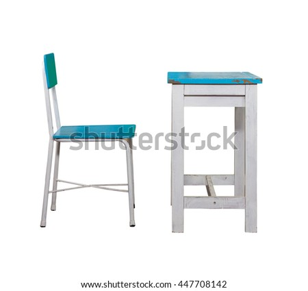 wooden student desk and chair  on white background.