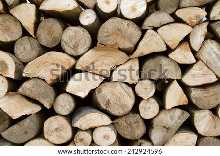 wooden stumps - wooden logs stacked for firewood - firewood - wooden texture