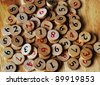 Wooden sudoku  numbers, random choice. Lucky concept - stock photo