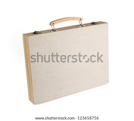 Wooden suitcase isolated on white background.