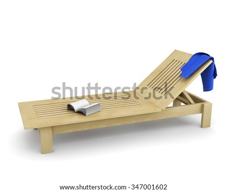 Wooden sun lounger with a towel and book on it isolated on white background. 3d rendering. - stock photo