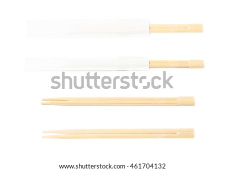 Wooden sushi chopsticks in a protection paper sleeve, isolated over the white background, set of four different foreshortenings
