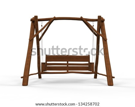 Wooden Swing Isolated on White Background - stock photo