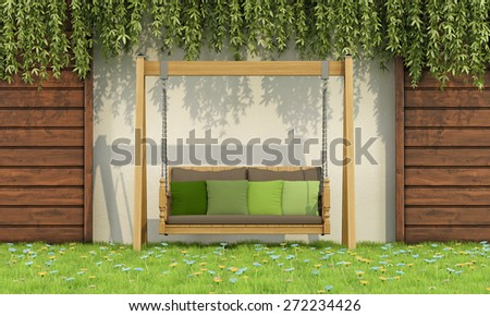 Wooden swing with green cushions in a garden - 3D rendering - stock photo