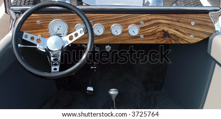 Wooden T-Bucket Dash - stock photo
