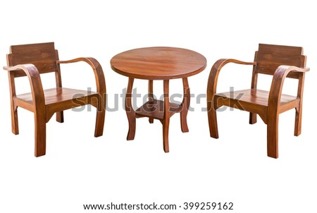 Wooden table and chair isolate on white background