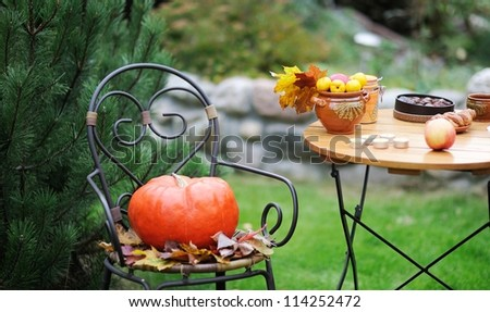 Wooden table and chair set outdoors in garden setting - stock photo
