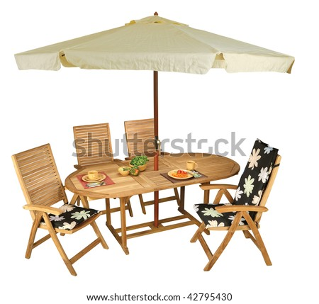 Wooden table and chairs - garden furniture. - stock photo
