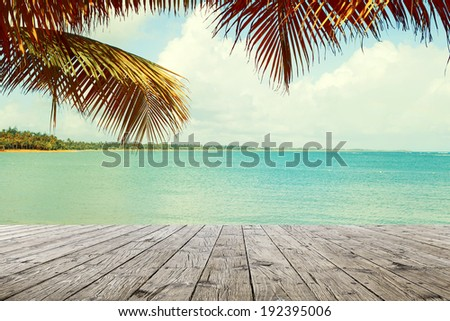Wooden Table in Resort - stock photo