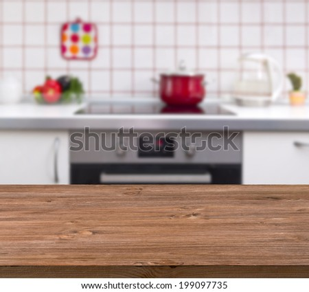 Kitchen Table Background wooden table on kitchen bench background stock photo 199097735