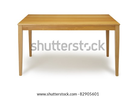 Wooden table on white background.