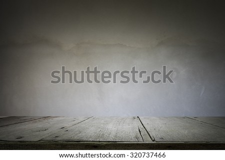 Wooden table or floor platform and polished concrete surface background - stock photo