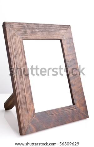 Wooden table photo frame (side view) - stock photo