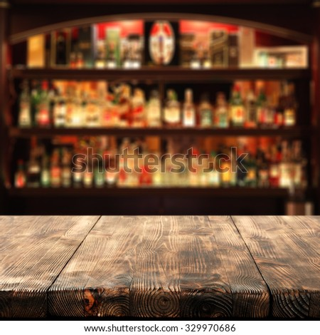 wooden table place bar and space for you  - stock photo