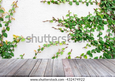 wooden table space and background of nature wall. can be used for display or montage your products - stock photo