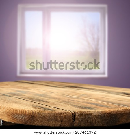 wooden table space and window  - stock photo