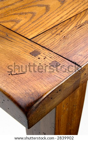 Wooden Table top up close - stock photo