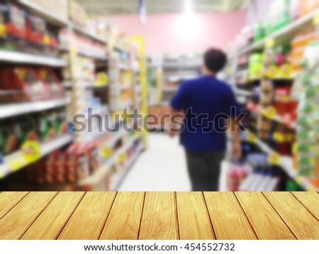 wooden table with Blur shopping mall background