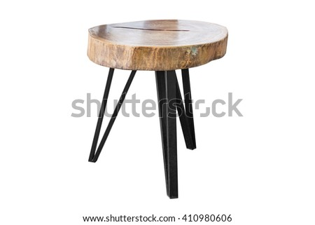 Wooden table with steel legs simplistic on white background, work with path. - stock photo