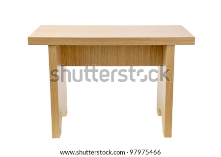wooden  tabouret isolated on white background - stock photo