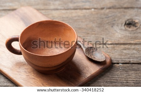 Wooden tea cup on table wood