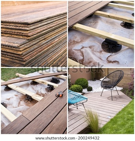 Wooden terrace, construction progress collage - stock photo