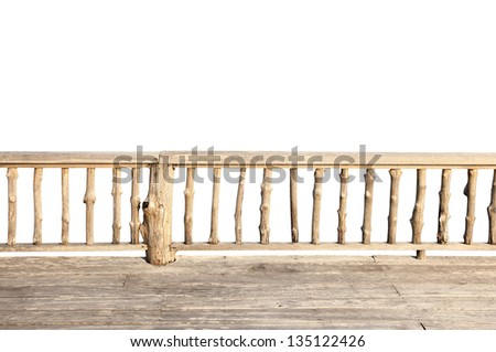 wooden terrace isolated on white background with clipping path - stock photo