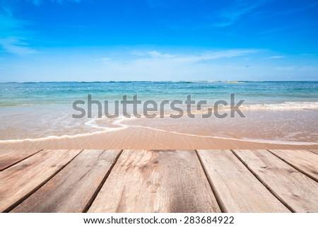 Wooden Terrace On Sea Beach In Summer Background