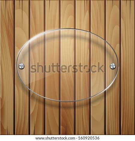 Wooden texture with glass framework. - stock photo