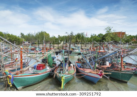 Wooden thai fishing boats